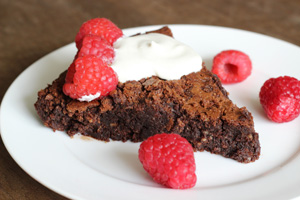 Flourless Chocolate Cake with Raspberries and Cream