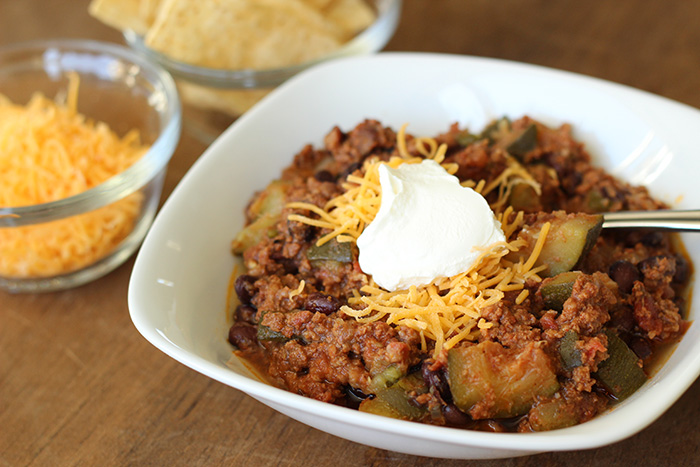 Slow Cooker Zucchini and Black Bean Chili